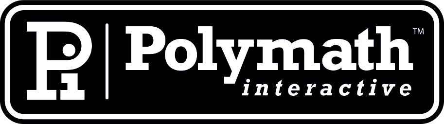 Polymath Interactive logo rendered in tasteful grey